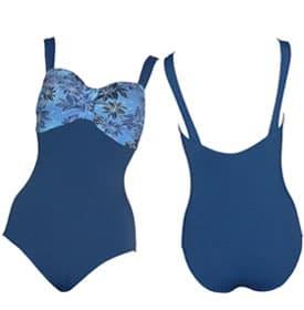 Bandeau Print Splice Blue – 4741102 Polyester Plus Size